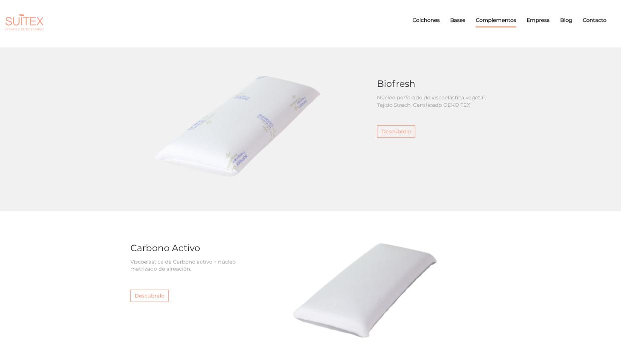 Proyecto web corporativa para la marca de colchones Suitex