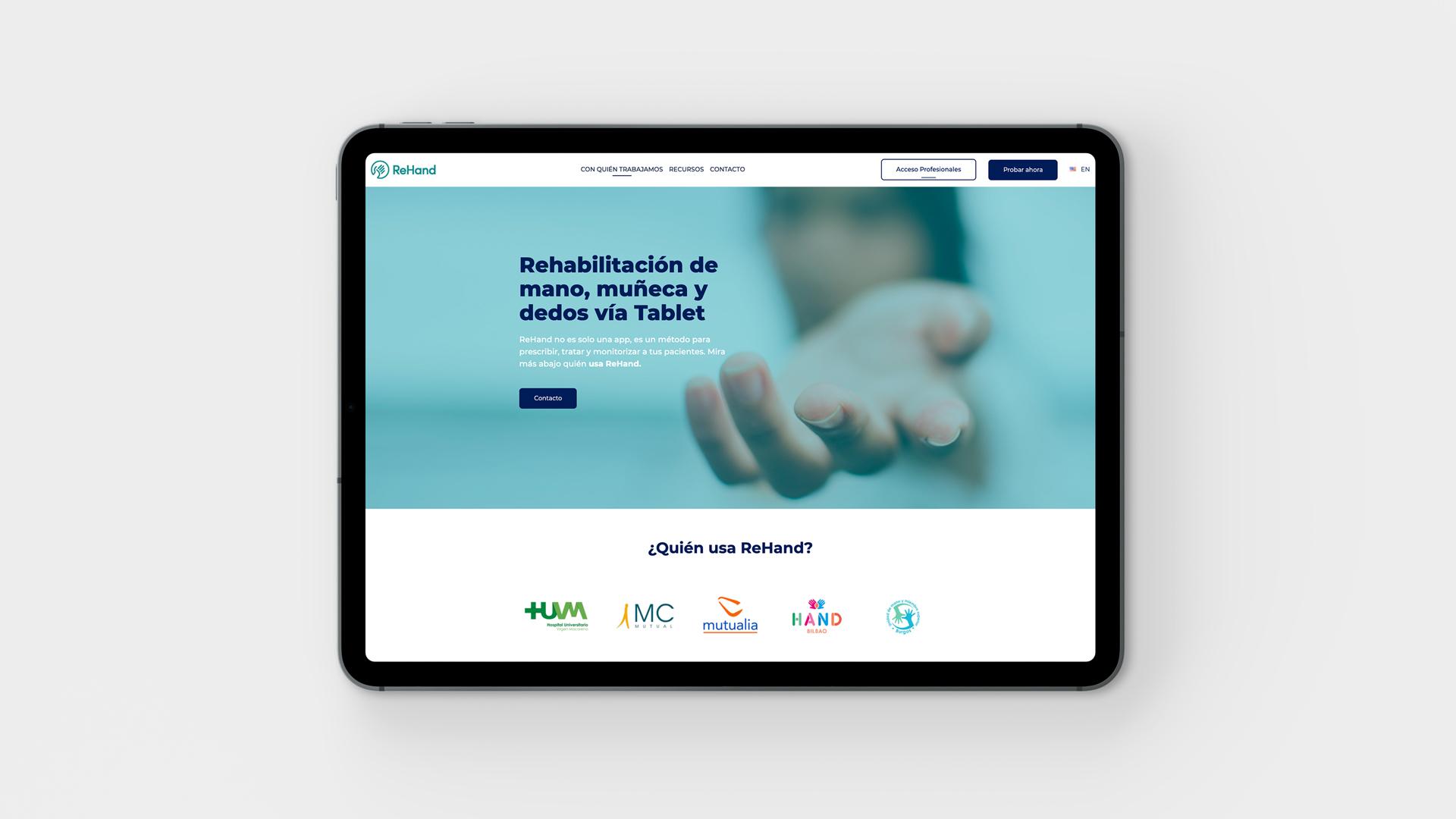 Proyecto web corporativa Rehand creado por la agencia creativa Eiduo
