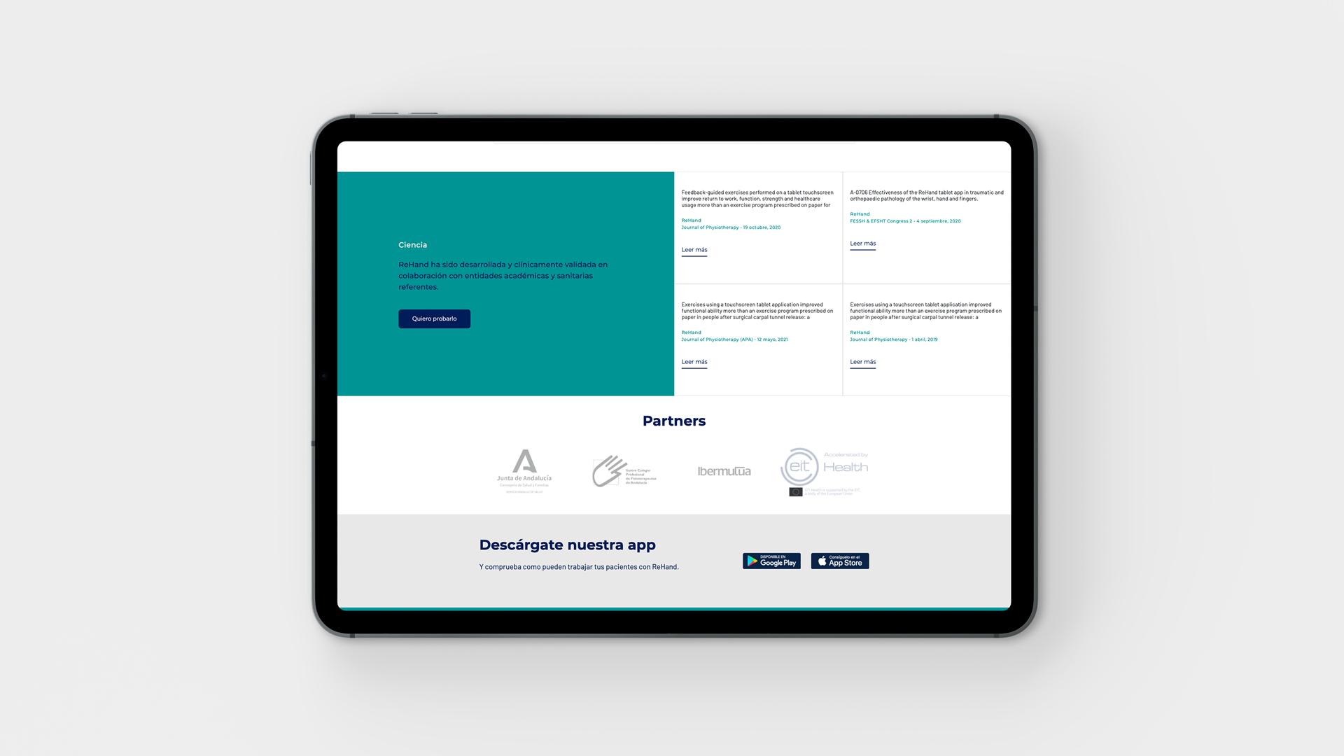 Diseño web corporativa Rehand creado por la agencia creativa Eiduo