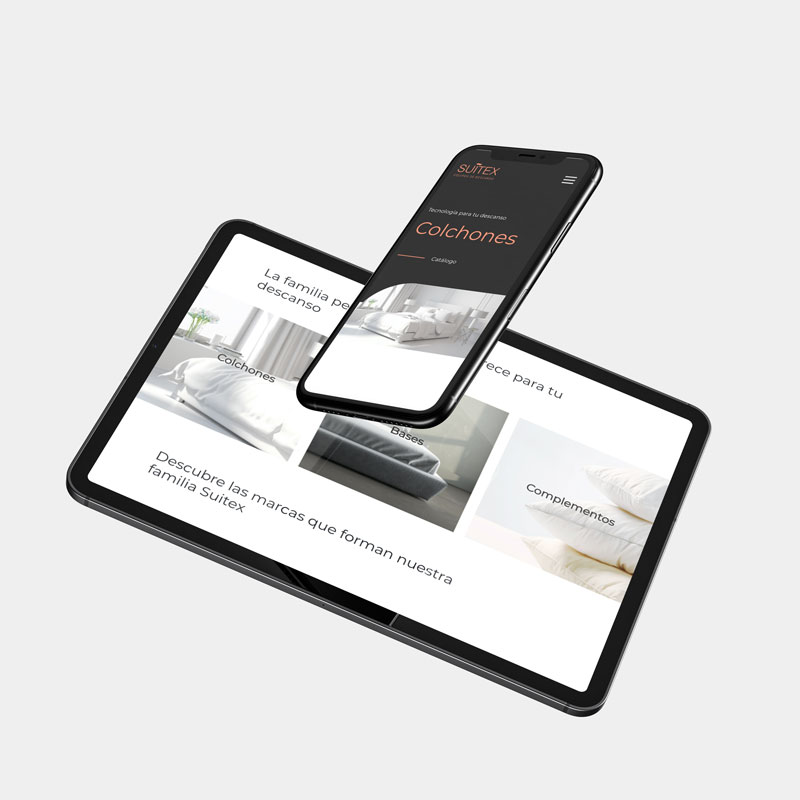 Proyecto web para colchones Suitex creado por la agencia creativa Eiduo