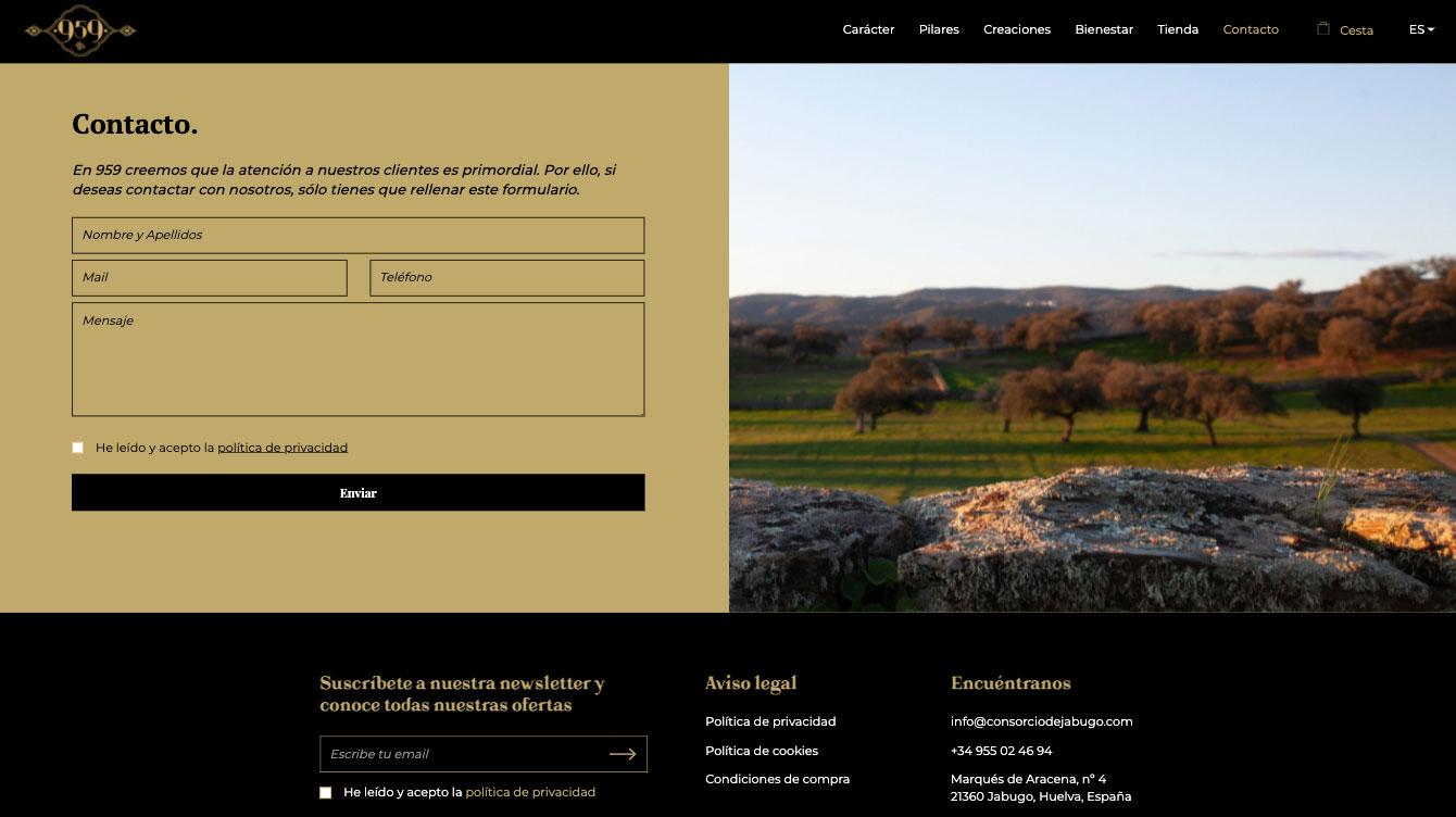 pagina de contacto WEB del ecomerce de jamones ibéricos 959