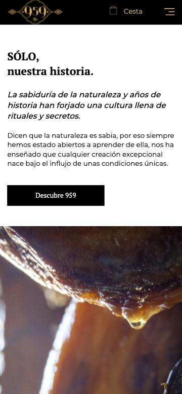 web adaptada a móviles de ecomerce 959 ibericos