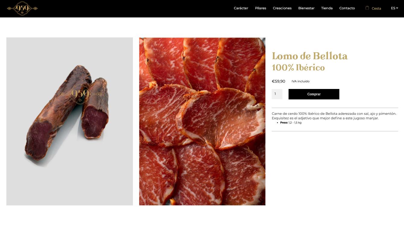 Diseño WEB del ecomerce de jamones ibéricos 959